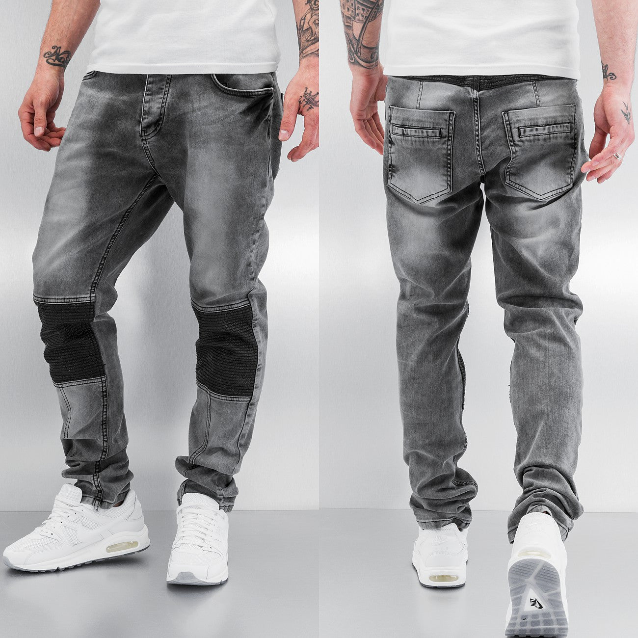 Bangastic PU Straight Fit Jeans  Grey