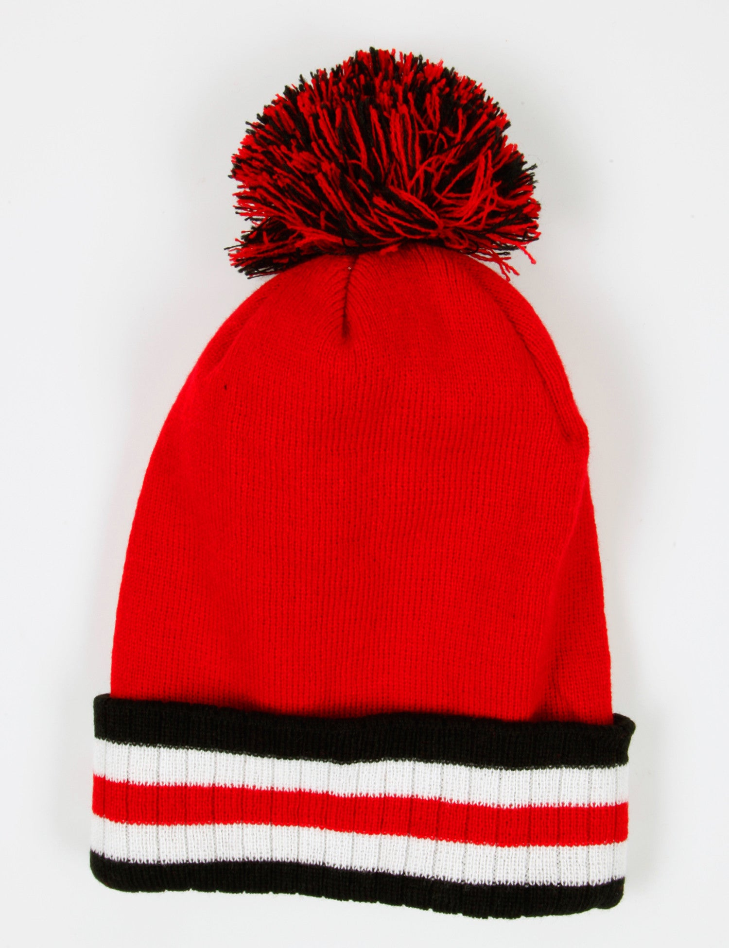 Stripe Plain Fold Pom Beanie Red