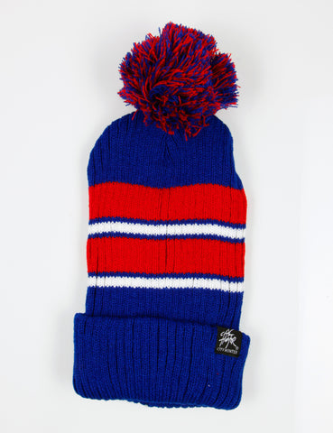 2Tone Stripe Vertical Ribbed Pom Beanie Blue