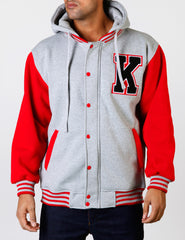 2 Tone Fleece Hoody EF-4598K Grey