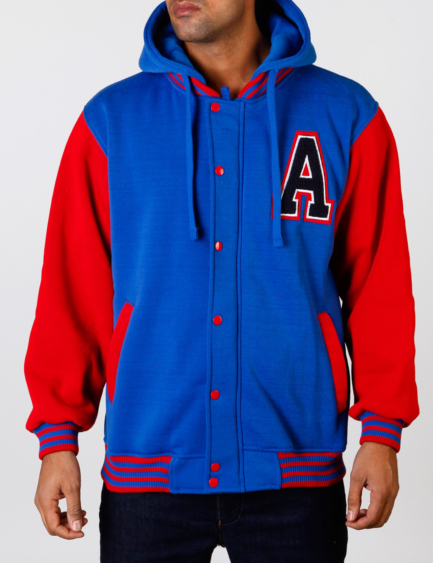 2 Tone Fleece Hoody EF-4594A Blue