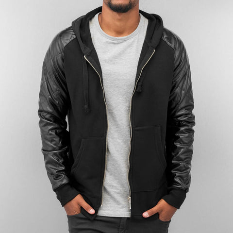 Bangastic PU Sleeves Zip Hoody  Black