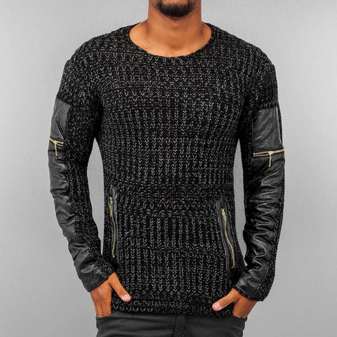 Bangastic PU Knit Sweater Hoody  Black