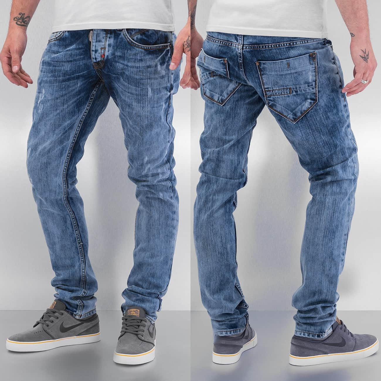 Cazzy Clang Acid Wash Straight Fit Jeans  Blue