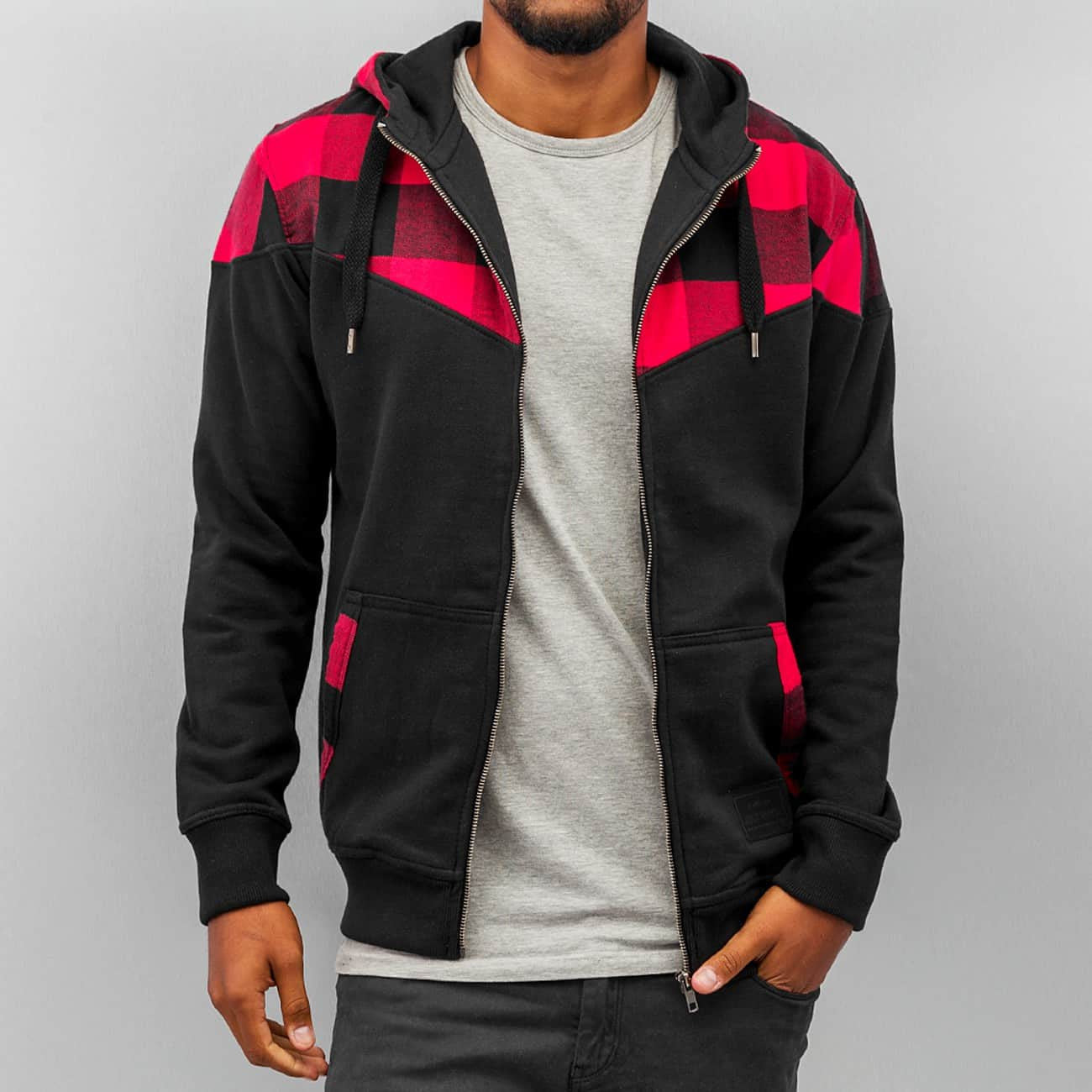 Just Rhyse Checked  Zip Hoody  Black
