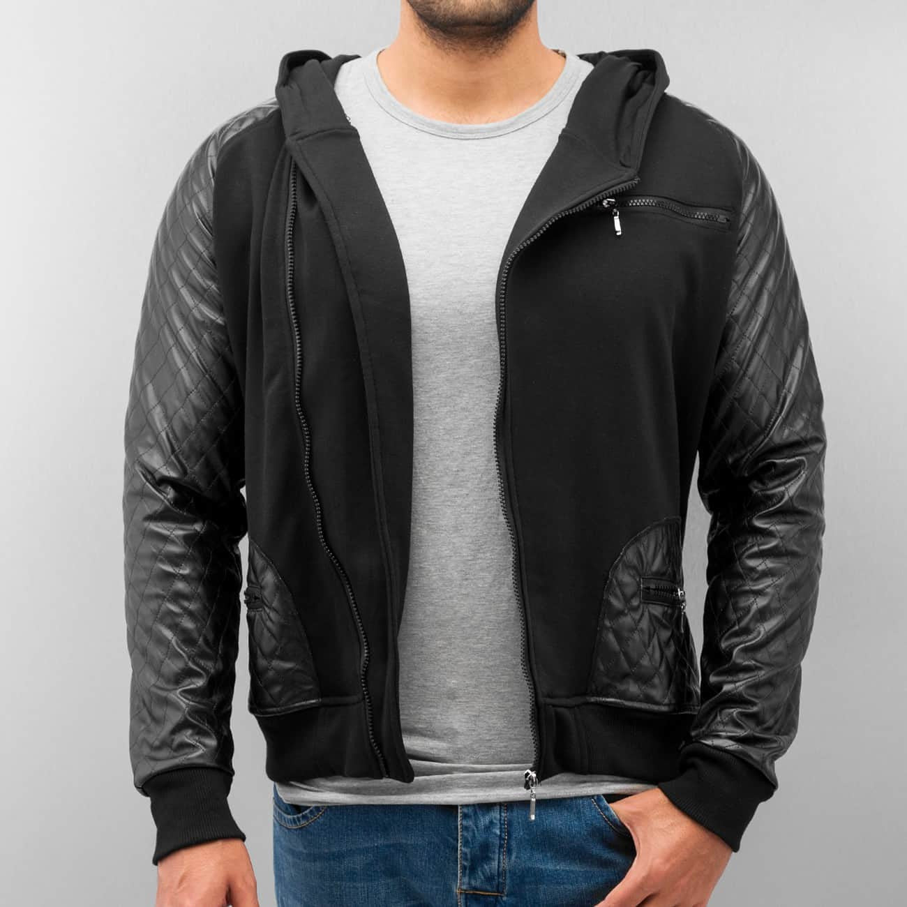 Just Rhyse PU Zip Hoody  Black