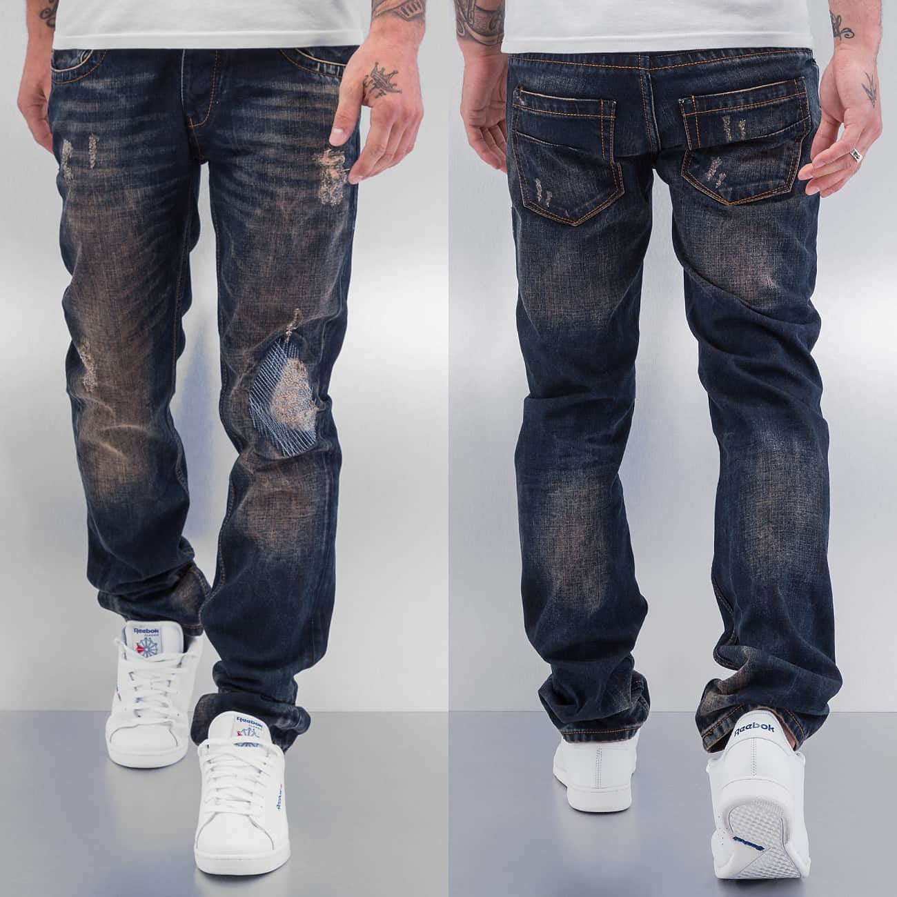 Cazzy Clang  Shattered Straight Fit Jeans  Blue