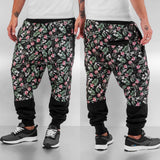 Dangerous DNGRS Flowers And Guns Sweat Pants  Black
