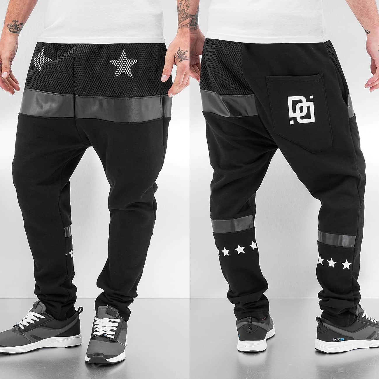 Dangerous DNGRS White Star Sweat Pants  Black