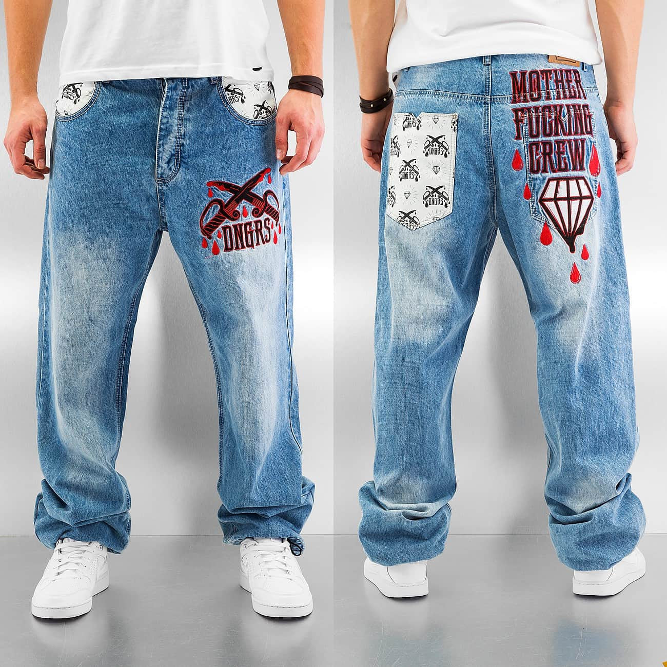 Dangerous DNGRS Mother Fucking Crew Baggy Jeans  Blue