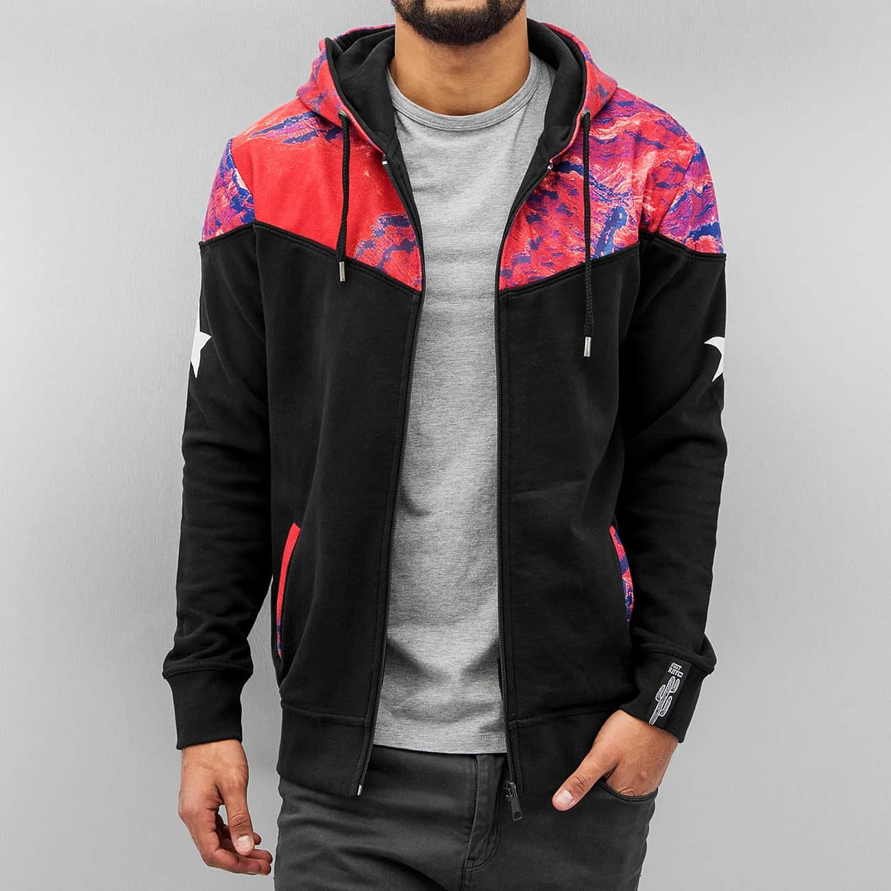 Just Rhyse Marble Zip Hoody  Black