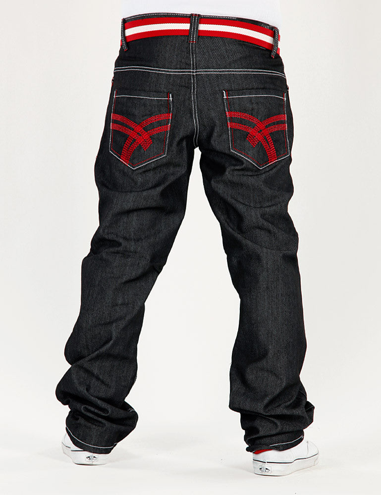 Basic Turn Up Jeans / With Belt Black