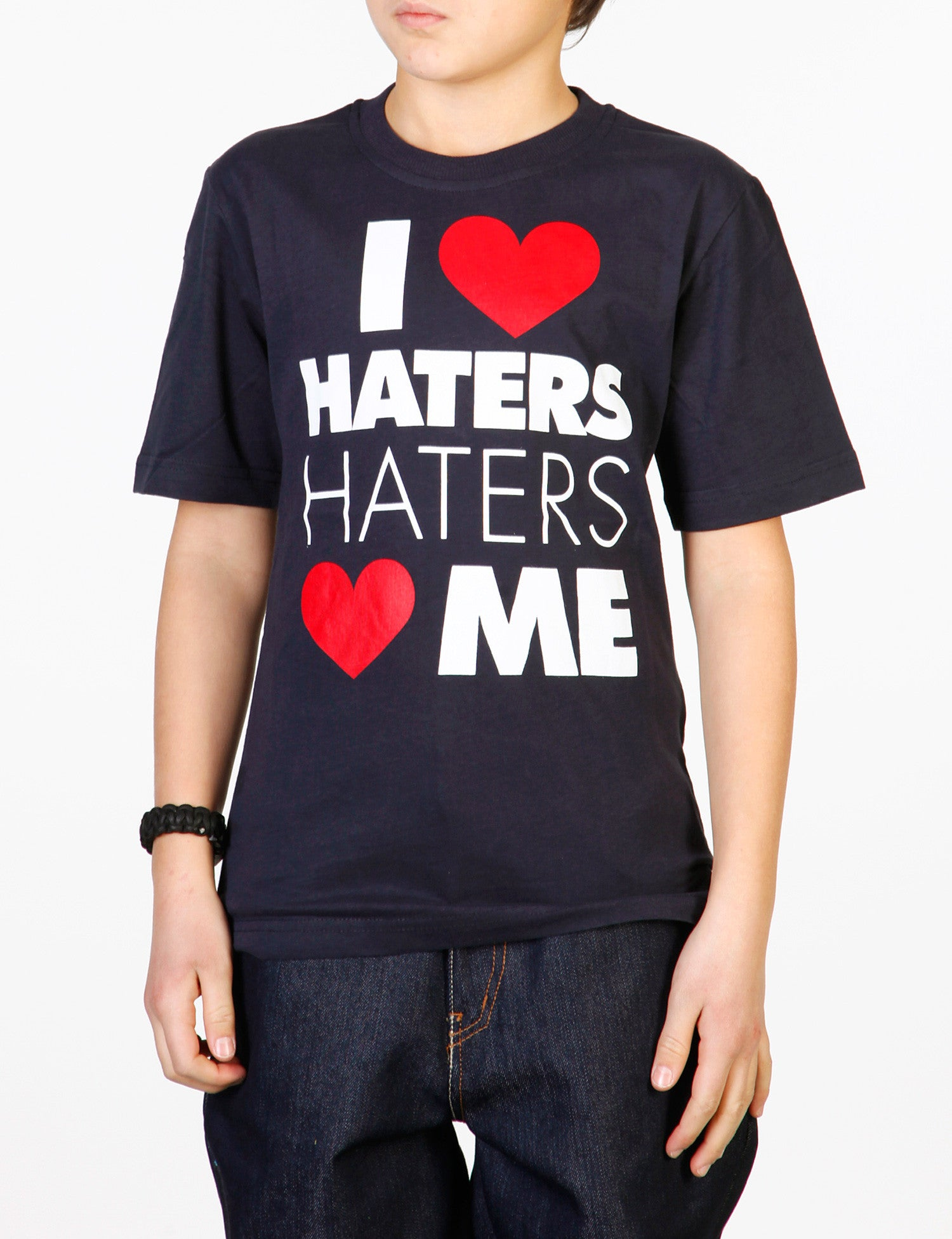 Kids I Love Haters Tee Navy
