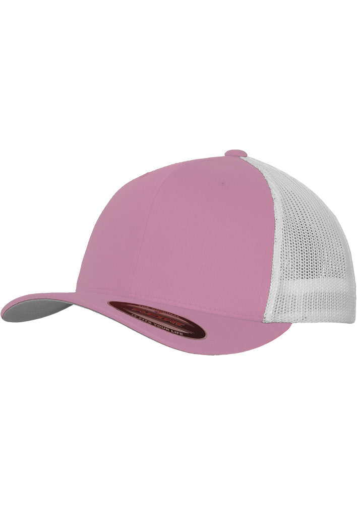 Flexfit Mesh Cotton Twill Trucker 2-Tone Cap 6511T Pink