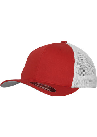 Flexfit Mesh Cotton Twill Trucker 2-Tone Cap 6511T Red