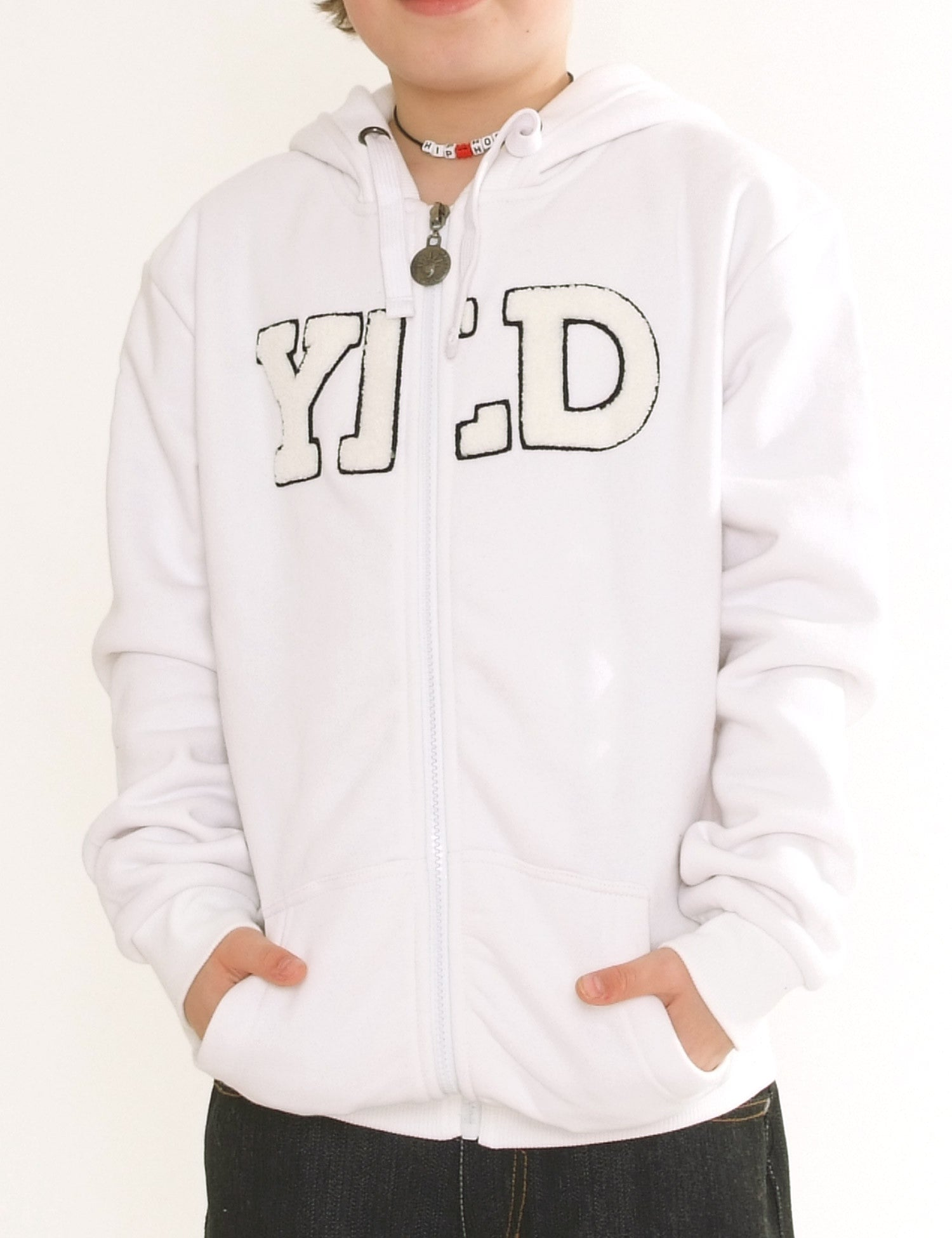 YLD-ZH-002 Kids Zip hoodies White