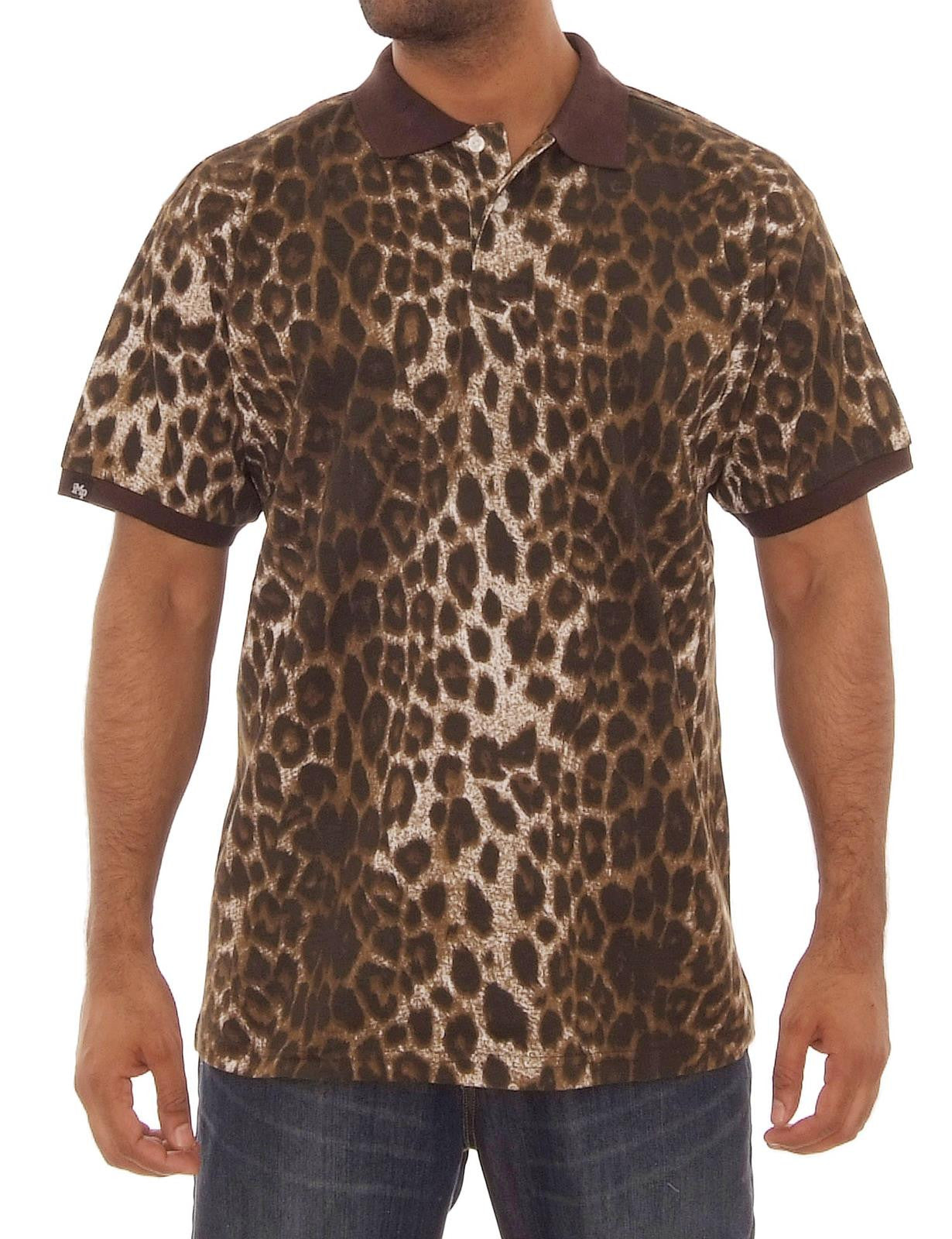 Animal Print Pique Polo Shirts Black