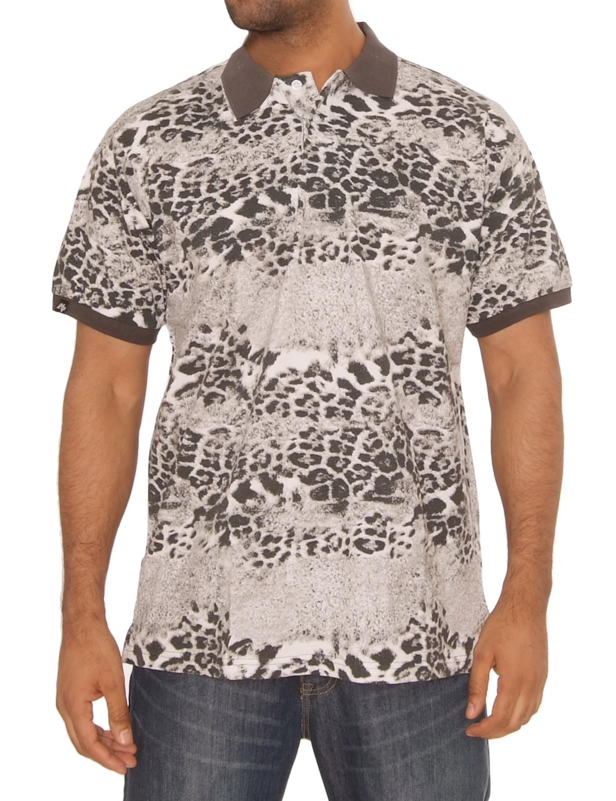 Animal Print Pique Polo Shirts Brown