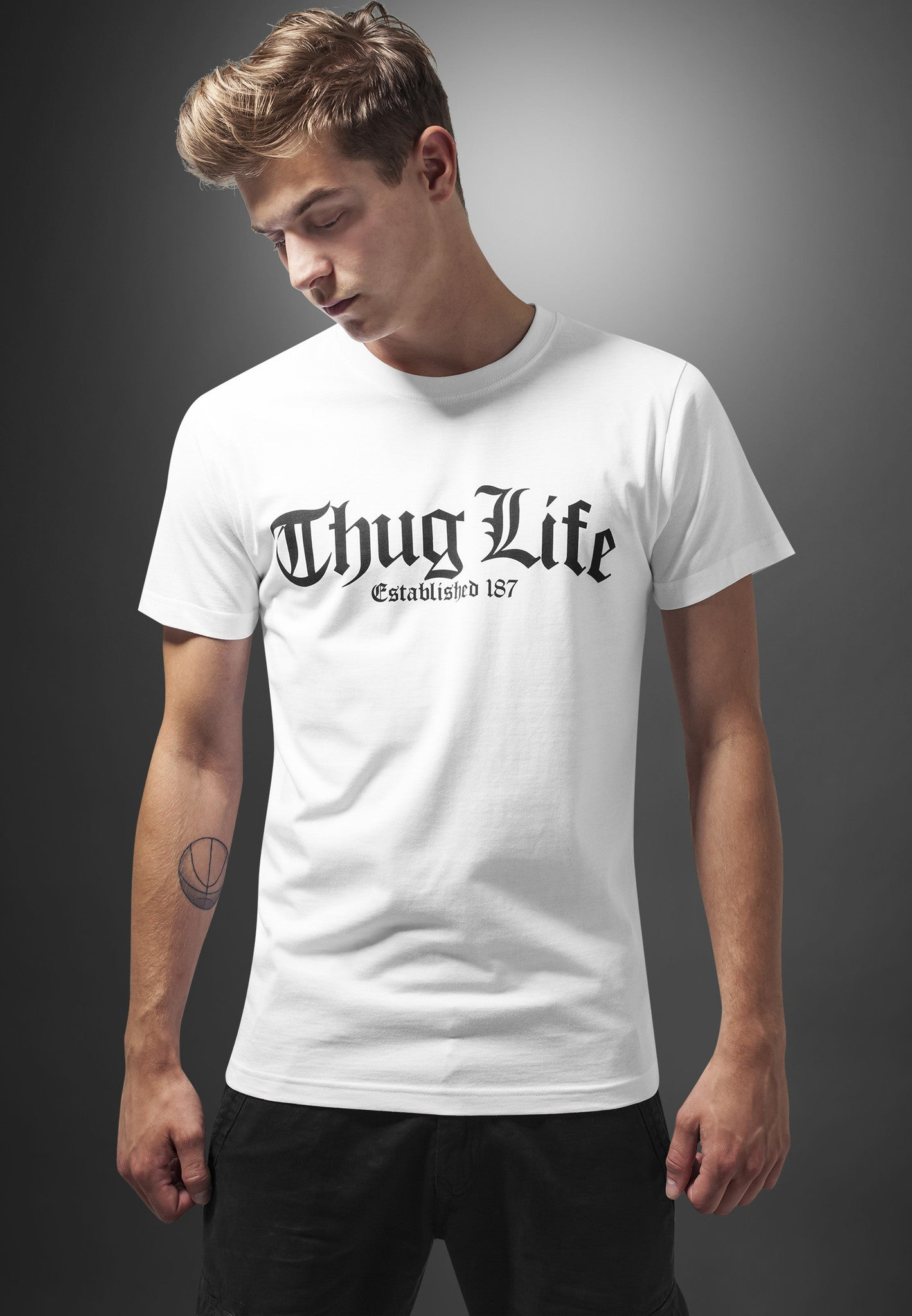 Thug Life Old English Tee White