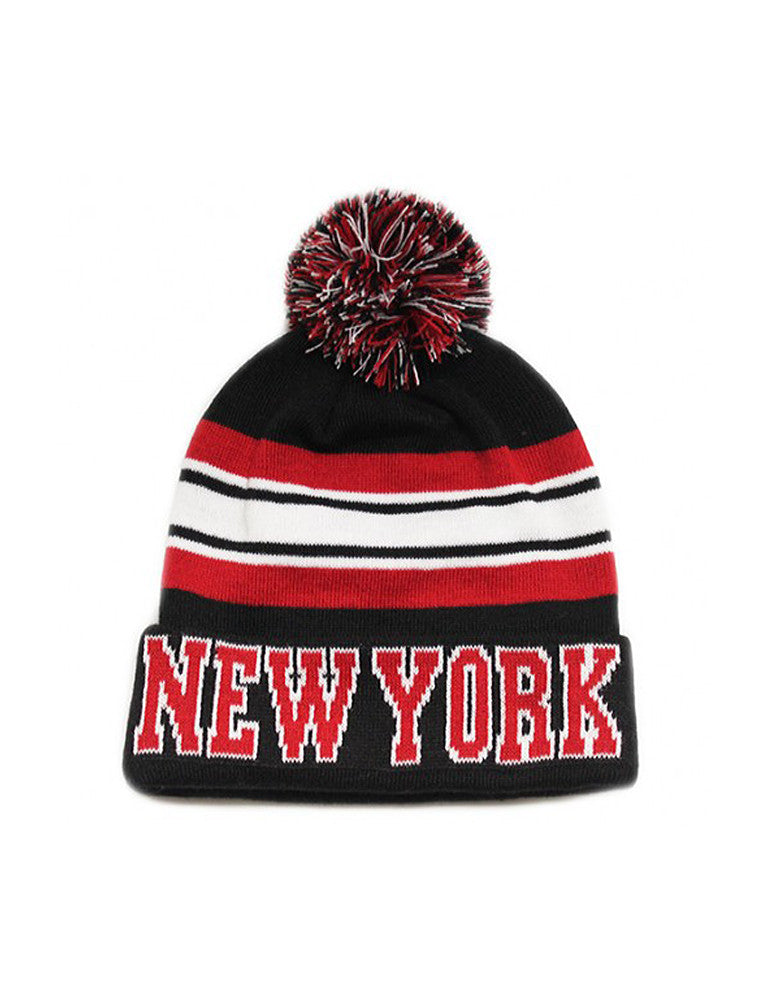 NY Stripe Collage City Pom Pom Beanie Black
