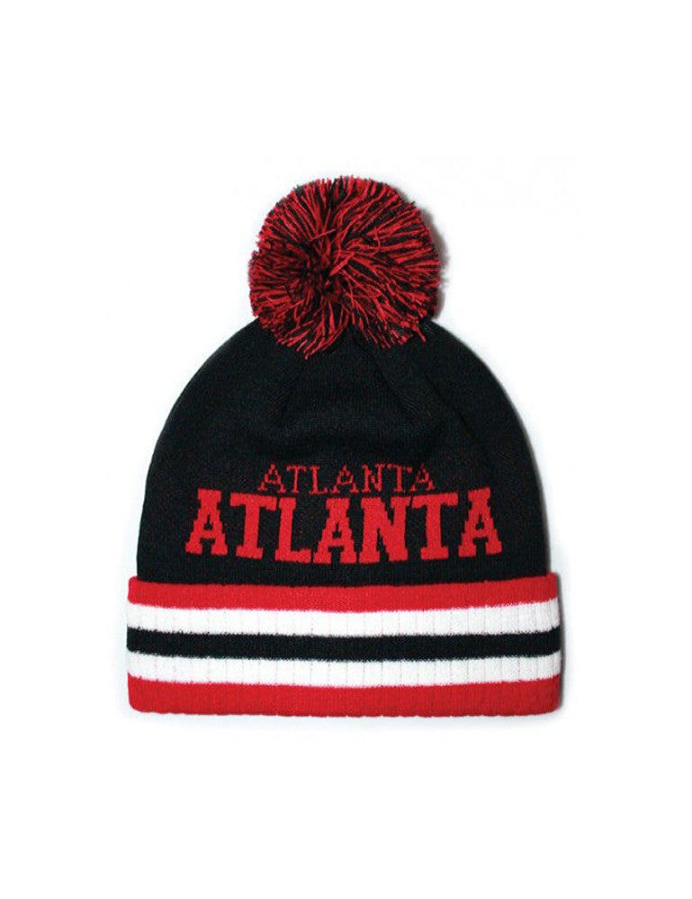Atlanta Stripe City Pom Pom Beanie Black