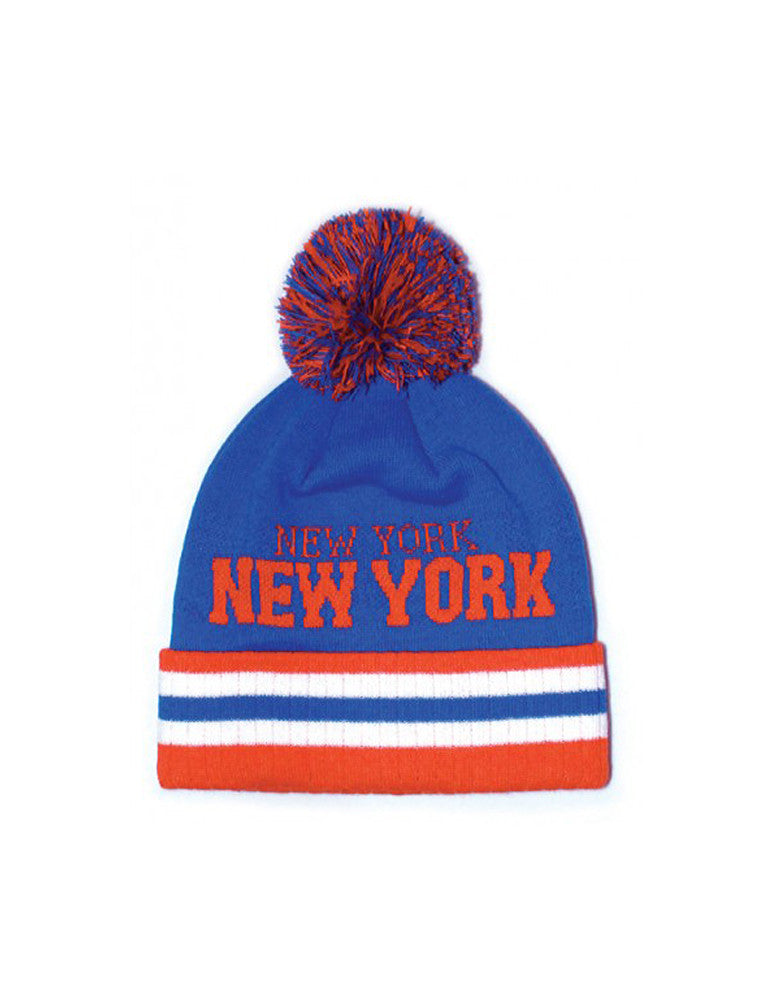 New York Stripe City Pom Pom Beanie Blue