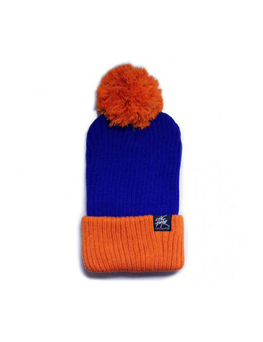 2Tone Vertical Ribbed Pom Beanie Blue