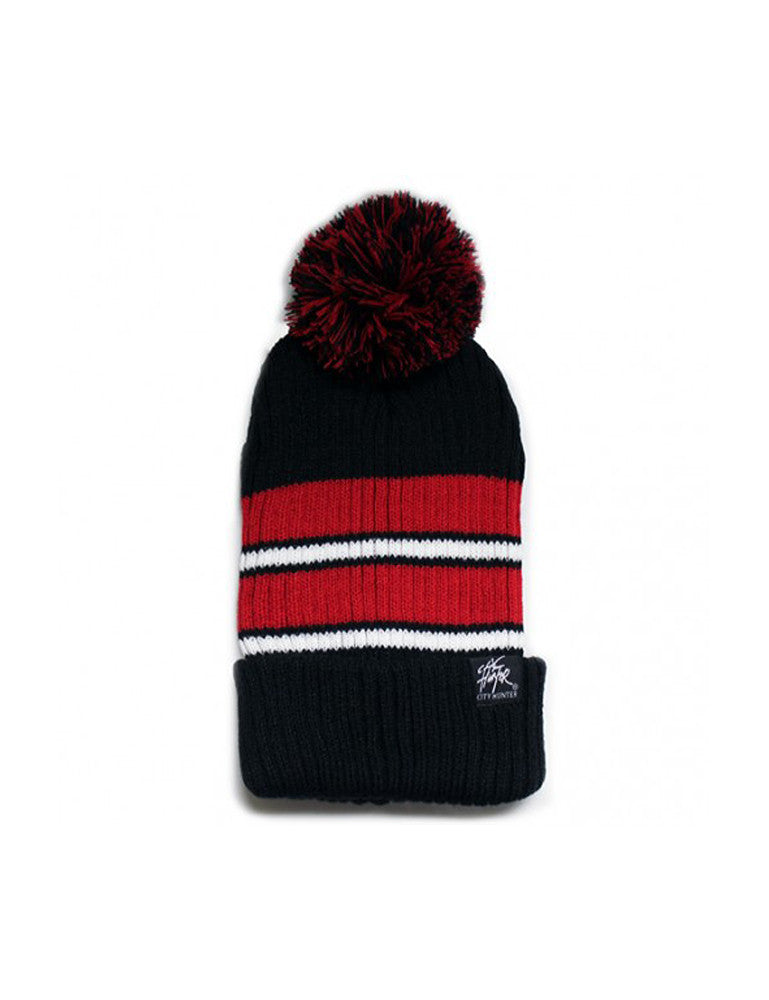 2Tone Stripe Vertical Ribbed Pom Beanie Black