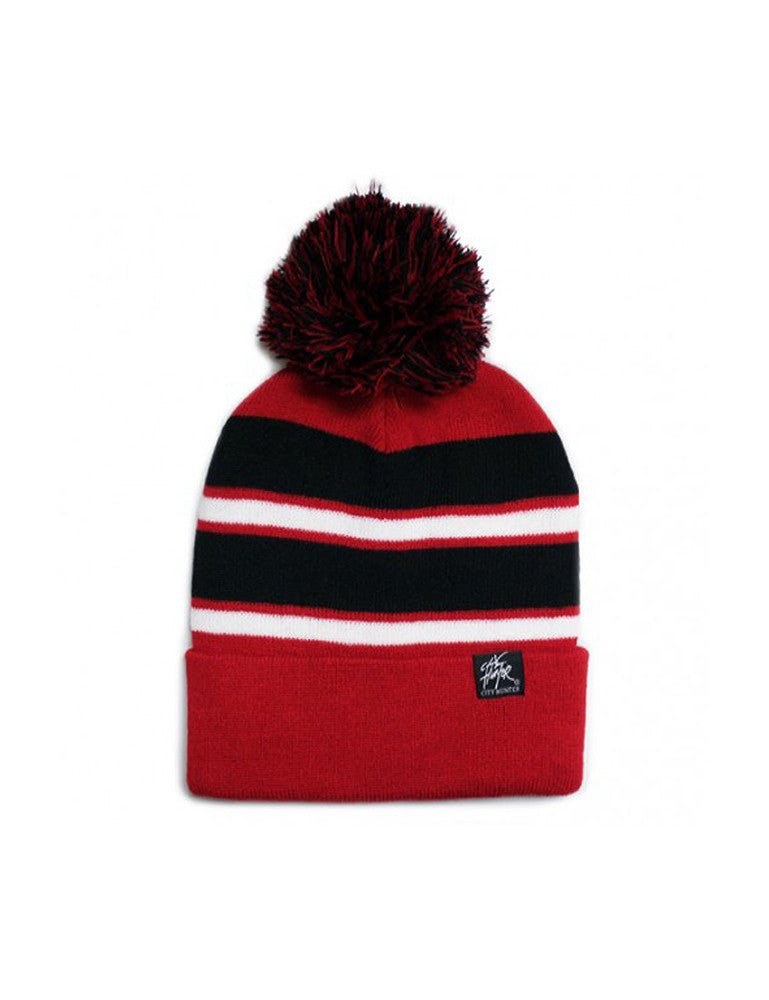 2Tone Stripe Plain Ribbed Pom Beanie Red