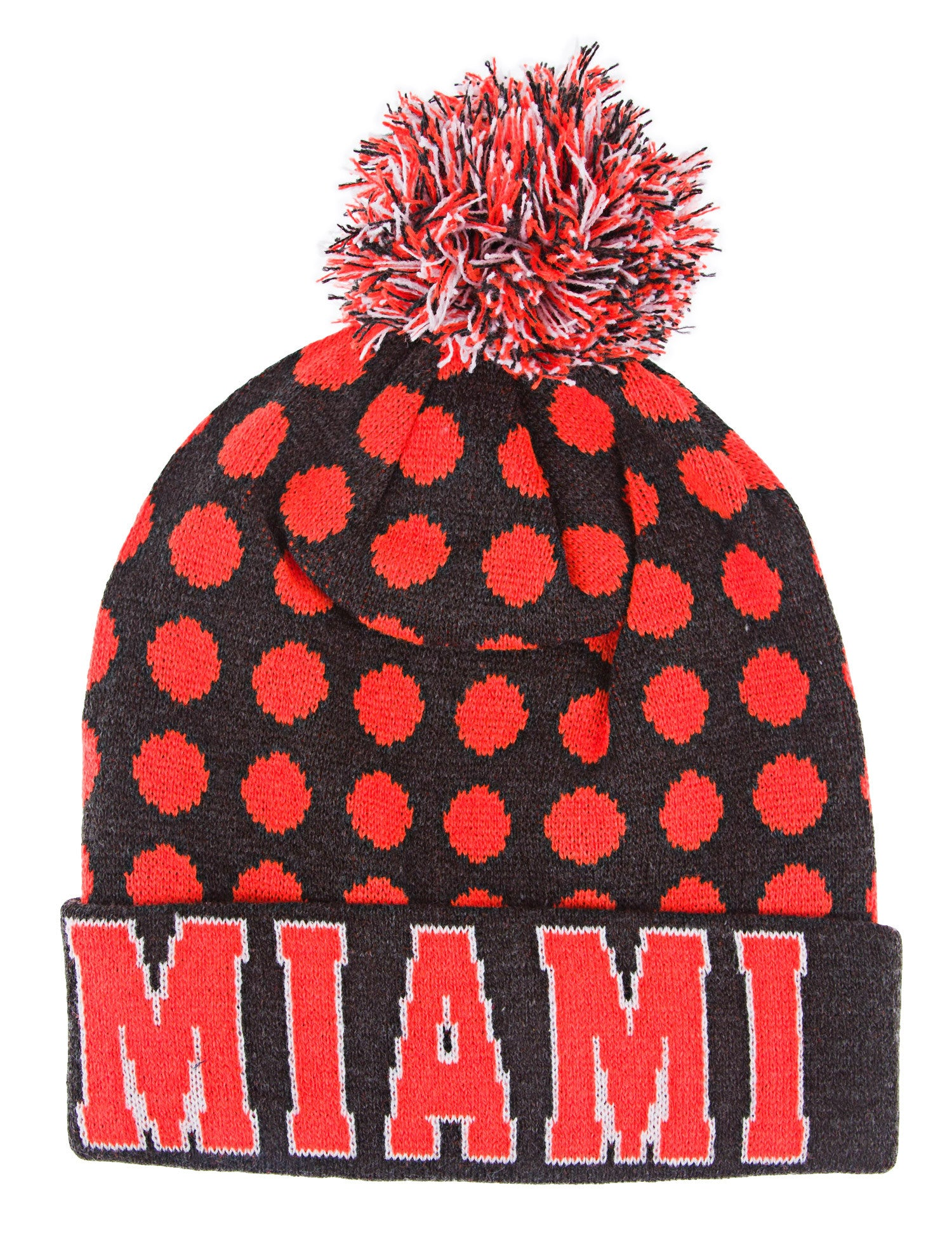 Miami Dots Beanie Pom Pom Knit Grey