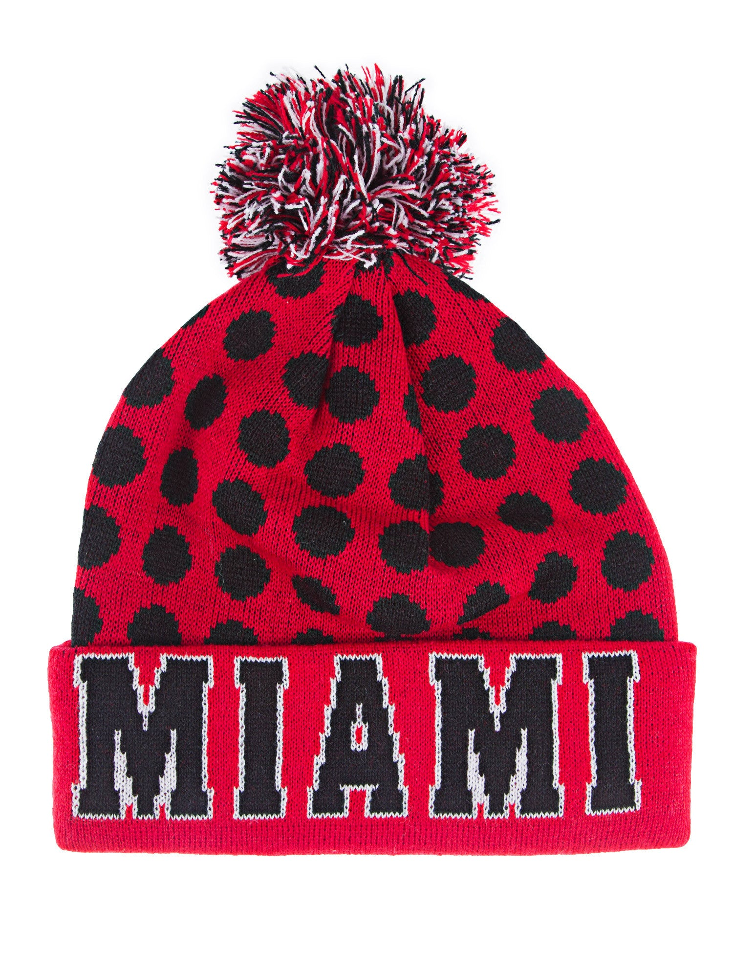Miami Dots Beanie Pom Pom Knit Red
