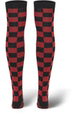 Ladies Checkerboard Overknee Socks TB1166 Black