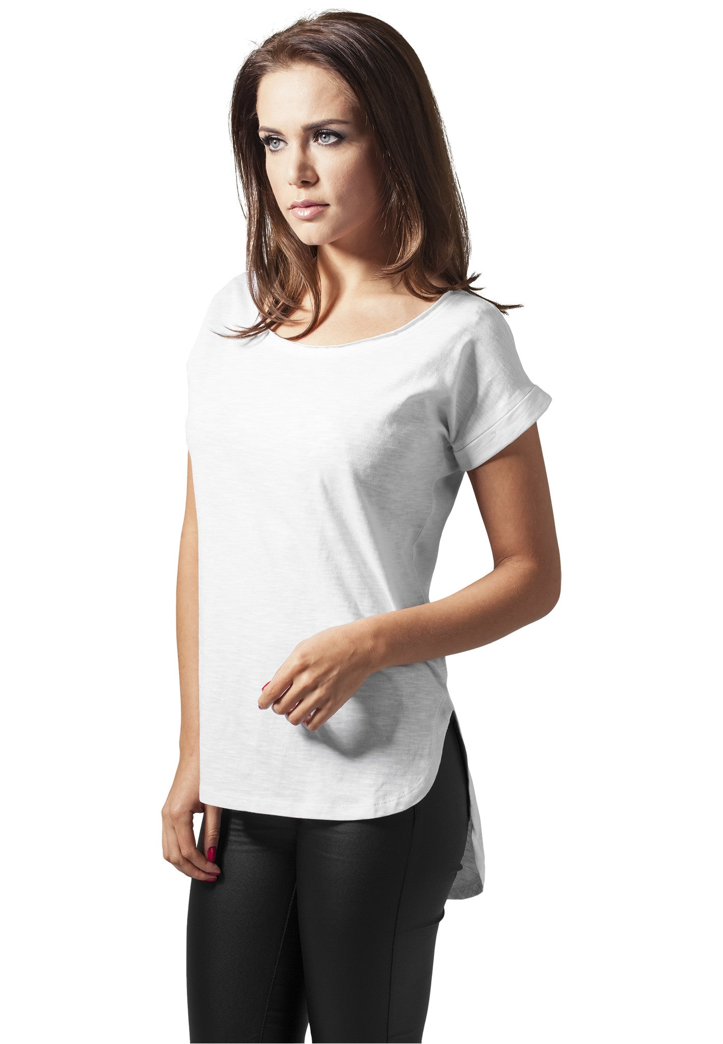 Ladies Long Back Shaped Slub Tee TB1186 White