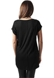 Ladies Long Back Shaped Slub Tee TB1186 Black