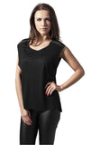 Ladies Shoulder Zip HiLo Tee TB1192 Black
