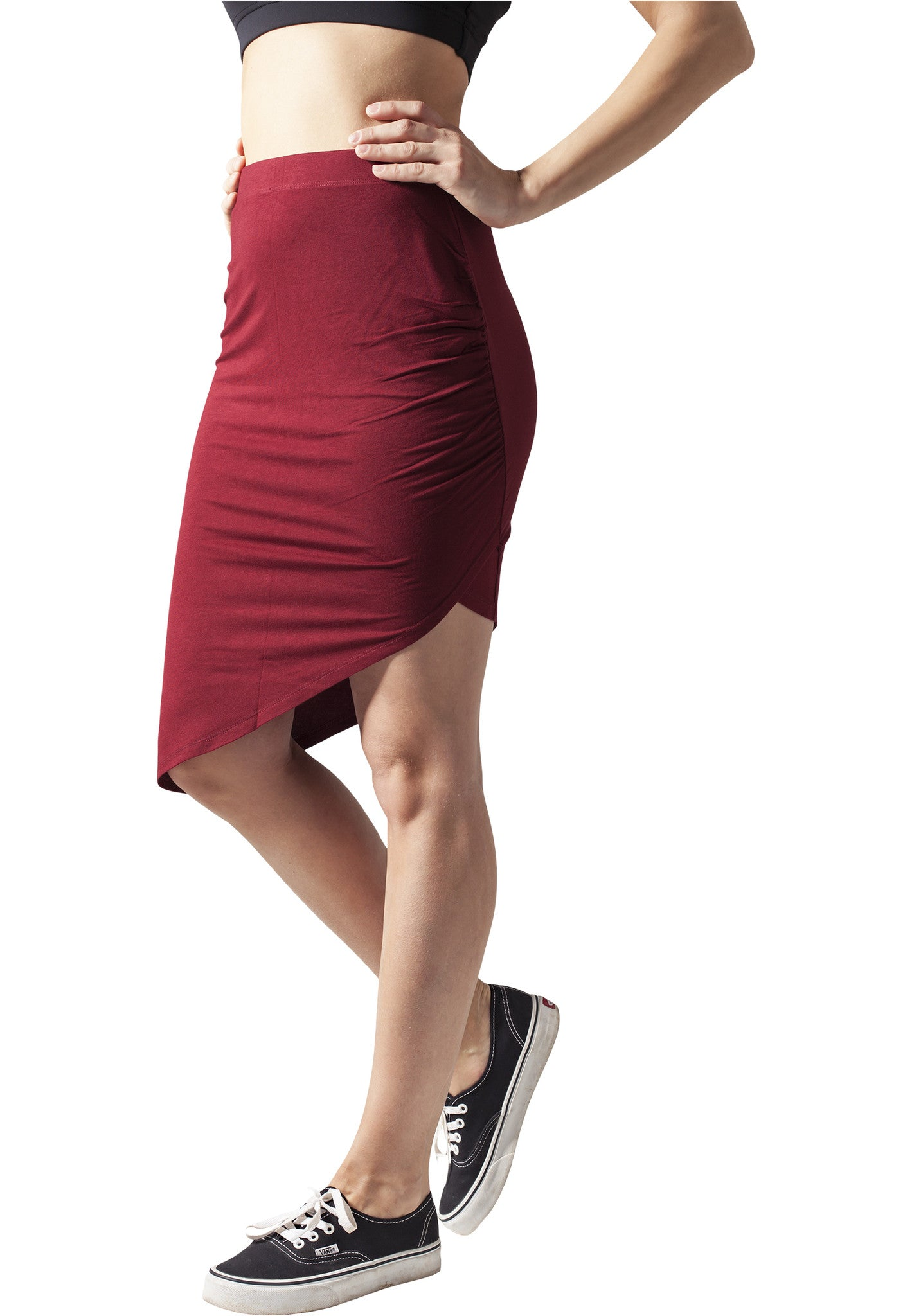 Ladies Asymetric Viscose Skirt TB1193 Red