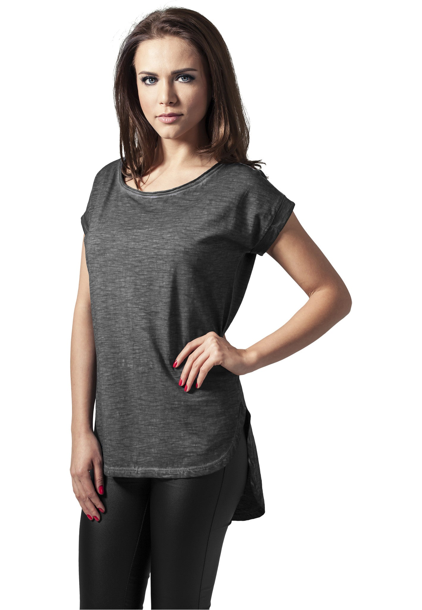 Ladies Long Back Shaped Spray Dye Tee TB1196 Grey