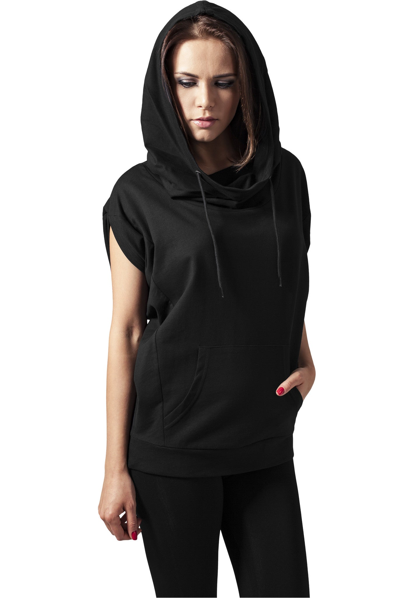 Ladies Sleeveless Terry High Neck Hoody TB1211 Black
