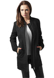 Ladies Peached Long Bomber Jacket TB1218 Black
