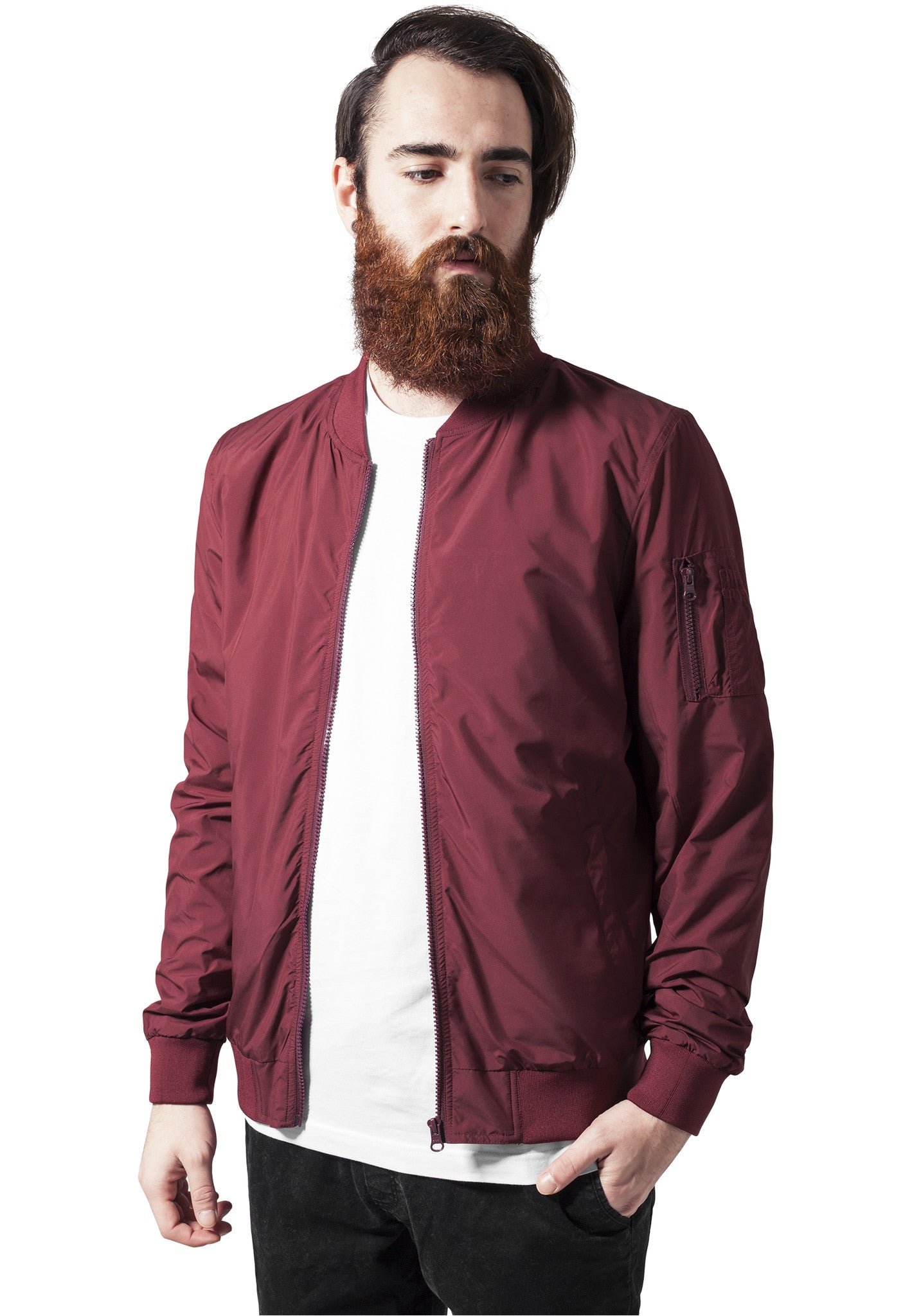 Light Bomber Jacket TB1258 Burgundy