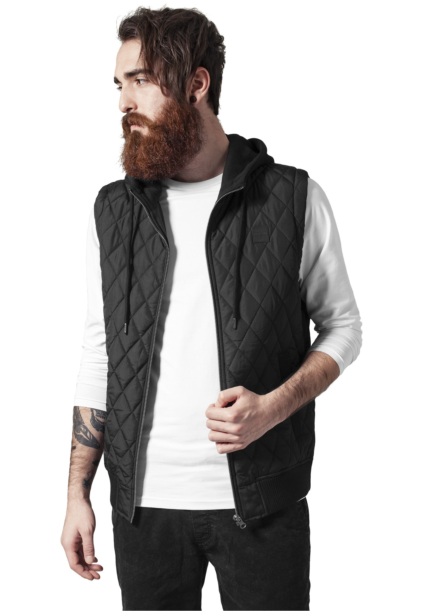 Diamond Quilted Hooded Vest TB1261 Black