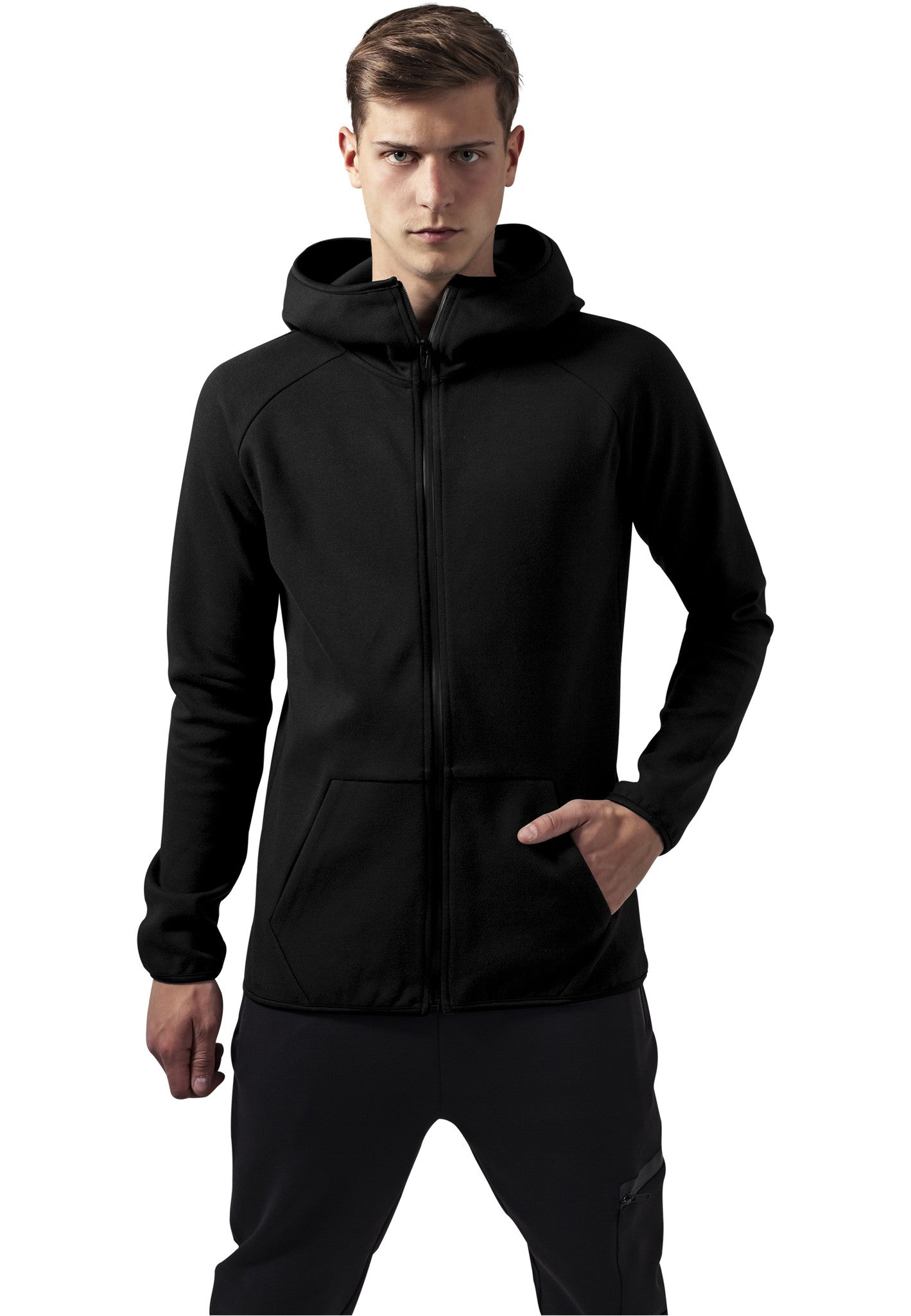 Athletic High Neck Interlock Zip Hoody TB1417 Black