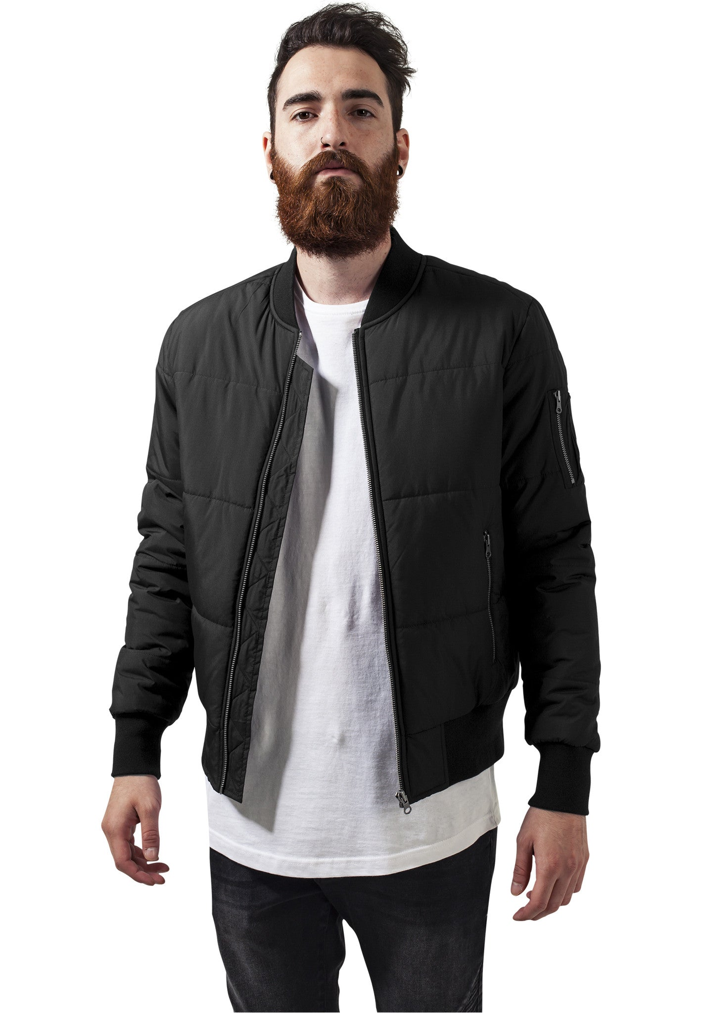 Basic Quilt Bomber Jacket TB1444 Black