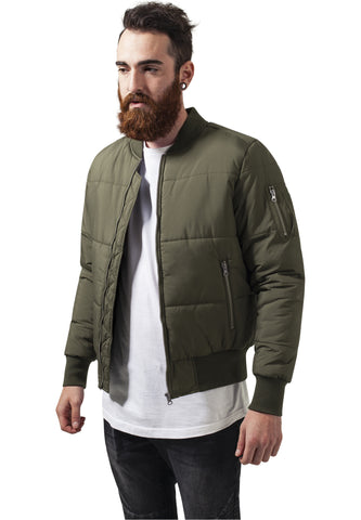 Basic Quilt Bomber Jacket TB1444 Green