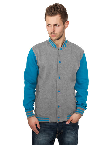 2-Tone College Sweatjacket TB207  Grey