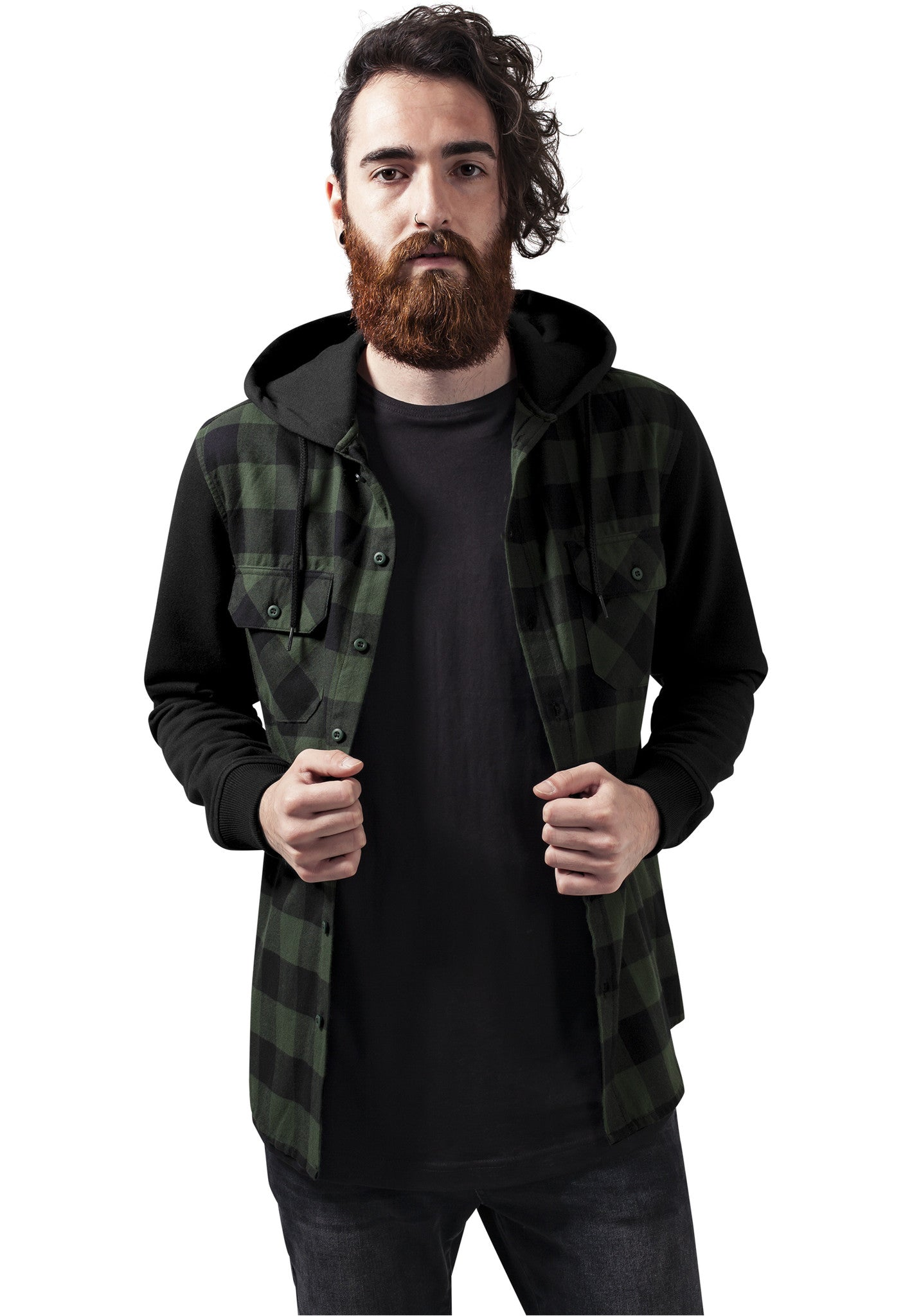 Hooded Checked Flanell Sweat Sleeve Shirt TB513 Black
