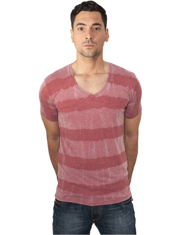 Fantasy Stripe Burnout V-Neck Tee TB532 Red