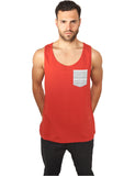 Contrast Pocket Jersey Big Tank TB633 Red