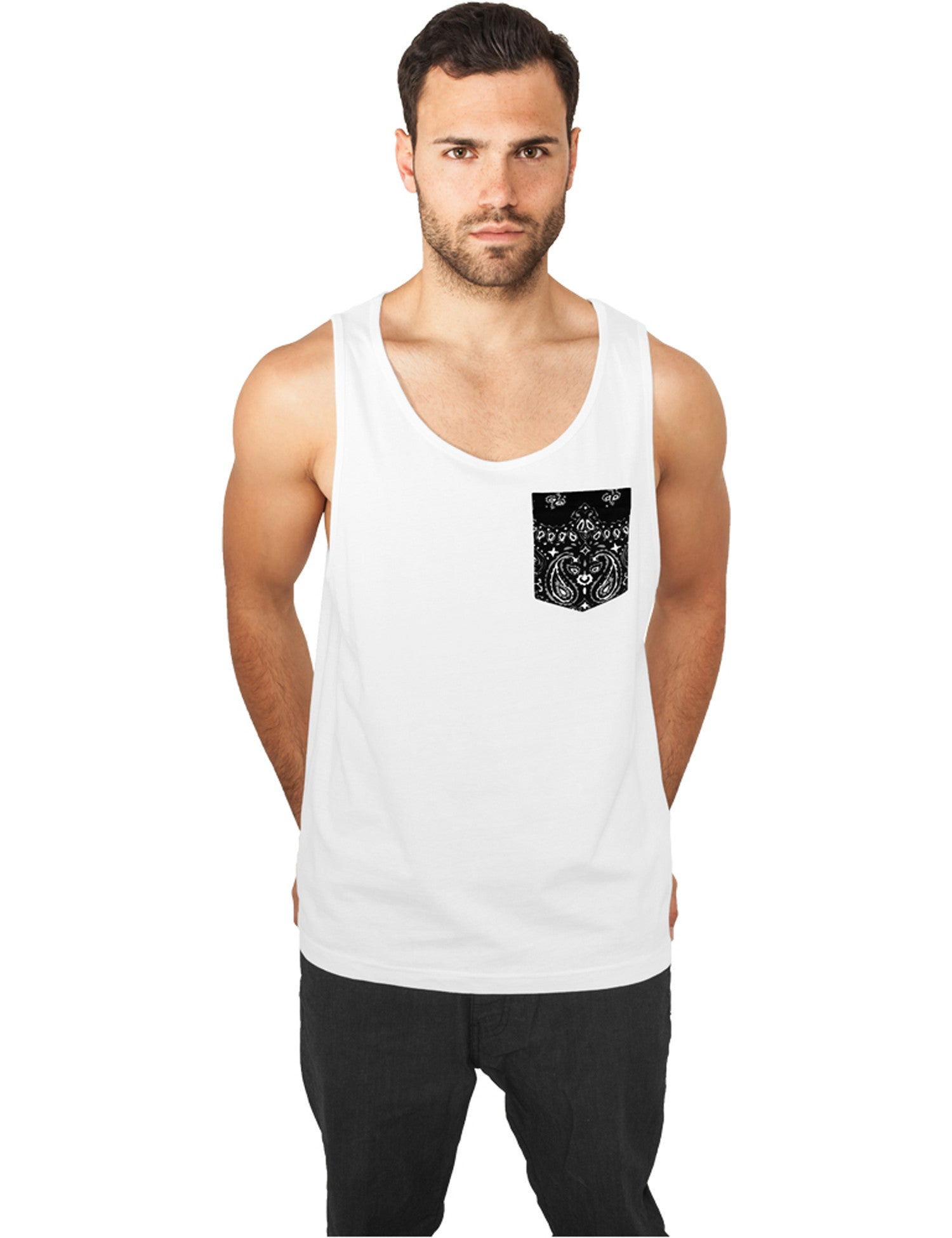 Contrast Pocket Jersey Big Tank TB633 White