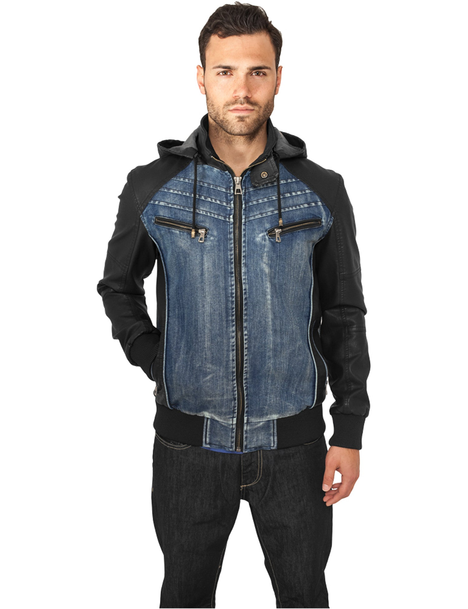 Hooded Denim Leather Jacket TB675 Dark Blue